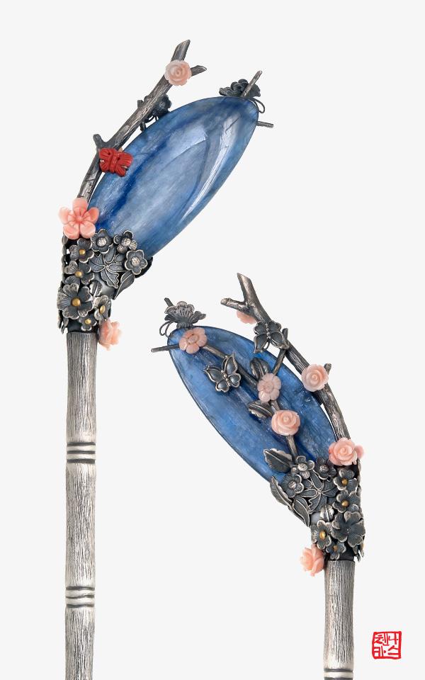 [나스첸카] 푸른 꽃 비녀 - 카이언나이트 산호 비녀